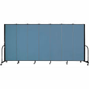 "Screenflex 7 Panel Portable Room Divider, 6'H x 13'1""L, Fabric Color: Summer Blue"
