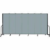 "Screenflex 7 Panel Portable Room Divider, 6'H x 13'1""L, Fabric Color: Grey Stone"