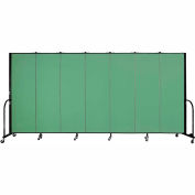 "Screenflex 7 Panel Portable Room Divider, 6'H x 13'1""L, Fabric Color: Sea Green"