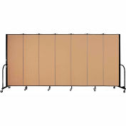 "Screenflex 7 Panel Portable Room Divider, 6'H x 13'1""L, Fabric Color: Sand"