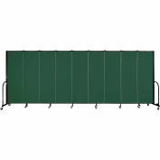 "Screenflex 9 Panel Portable Room Divider, 6'H x 16'9""L, Fabric Color: Mallard"