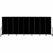 "Screenflex 9 Panel Portable Room Divider, 6'H x 16'9""L, Fabric Color: Charcoal Black"