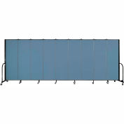 "Screenflex 9 Panel Portable Room Divider, 6'H x 16'9""L, Fabric Color: Summer Blue"