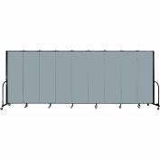"Screenflex 9 Panel Portable Room Divider, 6'H x 16'9""L, Fabric Color: Grey Stone"