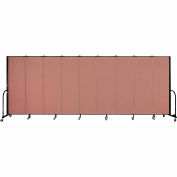 "Screenflex 9 Panel Portable Room Divider, 6'H x 16'9""L, Fabric Color: Cranberry"