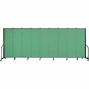 "Screenflex 9 Panel Portable Room Divider, 6'H x 16'9""L, Fabric Color: Sea Green"