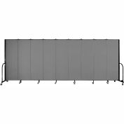 "Screenflex 9 Panel Portable Room Divider, 6'H x 16'9""L, Fabric Color: Grey"