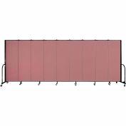 """Screenflex 9 Panel Portable Room Divider, 6'H x 16'9""""L, Fabric Color: Mauve"""