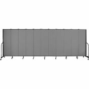 "Screenflex 11 Panel Portable Room Divider, 6'8""H x 20'5""L, Fabric Color: Grey"