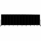 "Screenflex 13 Panel Portable Room Divider, 6'8""H x 24'1""L, Fabric Color: Charcoal Black"