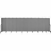 "Screenflex 13 Panel Portable Room Divider, 6'8""H x 24'1""L, Fabric Color: Grey"