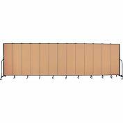 "Screenflex 13 Panel Portable Room Divider, 6'8""H x 24'1""L, Fabric Color: Wheat"