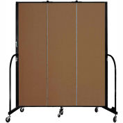 "Screenflex 3 Panel Portable Room Divider, 6'8""H x 5'9""L, Fabric Color: Walnut"
