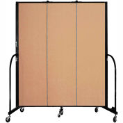 "Screenflex 3 Panel Portable Room Divider, 6'8""H x 5'9""L, Fabric Color: Desert"