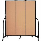"Screenflex 3 Panel Portable Room Divider, 6'8""H x 5'9""L, Fabric Color: Desert"