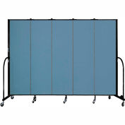 "Screenflex 5 Panel Portable Room Divider, 6'8""H x 9'5""L, Fabric Color: Summer Blue"