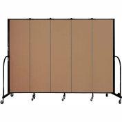 "Screenflex 5 Panel Portable Room Divider, 6'8""H x 9'5""L, Fabric Color: Beech"