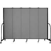 "Screenflex 5 Panel Portable Room Divider, 6'8""H x 9'5""L, Fabric Color: Grey"