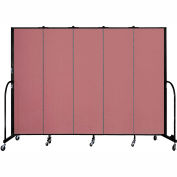 "Screenflex 5 Panel Portable Room Divider, 6'8""H x 9'5""L, Fabric Color: Mauve"