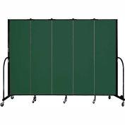 "Screenflex 5 Panel Portable Room Divider, 6'8""H x 9'5""L, Fabric Color: Green"