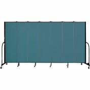 "Screenflex 7 Panel Portable Room Divider, 6'8""H x 13'1""L, Fabric Color: Lake"