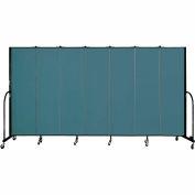 "Screenflex 7 Panel Portable Room Divider, 6'8""H x 13'1""L, Fabric Color: Lake"