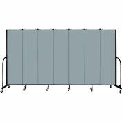 "Screenflex 7 Panel Portable Room Divider, 6'8""H x 13'1""L, Fabric Color: Grey Stone"