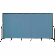 "Screenflex 7 Panel Portable Room Divider, 6'8""H x 13'1""L, Fabric Color: Blue"