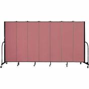 """Screenflex 7 Panel Portable Room Divider, 6'8""""H x 13'1""""L, Fabric Color: Mauve"""