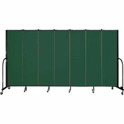 "Screenflex 7 Panel Portable Room Divider, 6'8""H x 13'1""L, Fabric Color: Green"