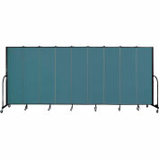 "Screenflex 9 Panel Portable Room Divider, 6'8""H x 16'9""L, Fabric Color: Lake"