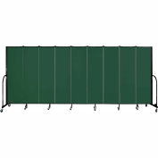"Screenflex 9 Panel Portable Room Divider, 6'8""H x 16'9""L, Fabric Color: Mallard"