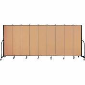 "Screenflex 9 Panel Portable Room Divider, 6'8""H x 16'9""L, Fabric Color: Desert"