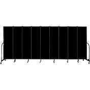 "Screenflex 9 Panel Portable Room Divider, 6'8""H x 16'9""L, Fabric Color: Charcoal Black"