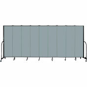 "Screenflex 9 Panel Portable Room Divider, 6'8""H x 16'9""L, Fabric Color: Grey Stone"