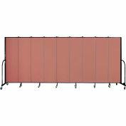 "Screenflex 9 Panel Portable Room Divider, 6'8""H x 16'9""L, Fabric Color: Cranberry"