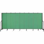 "Screenflex 9 Panel Portable Room Divider, 6'8""H x 16'9""L, Fabric Color: Sea Green"