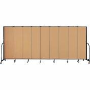 "Screenflex 9 Panel Portable Room Divider, 6'8""H x 16'9""L, Fabric Color: Sand"