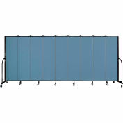 "Screenflex 9 Panel Portable Room Divider, 6'8""H x 16'9""L, Fabric Color: Blue"