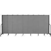 "Screenflex 9 Panel Portable Room Divider, 6'8""H x 16'9""L, Fabric Color: Grey"