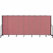 """Screenflex 9 Panel Portable Room Divider, 6'8""""H x 16'9""""L, Fabric Color: Mauve"""