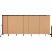 "Screenflex 9 Panel Portable Room Divider, 6'8""H x 16'9""L, Fabric Color: Wheat"