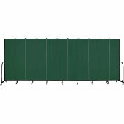 "Screenflex 11 Panel Portable Room Divider, 7'4""H x 20'5""L, Fabric Color: Green"