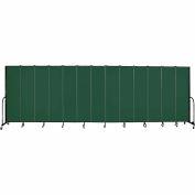 "Screenflex 13 Panel Portable Room Divider, 7'4""H x 24'1""L, Fabric Color: Green"