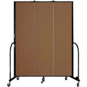 "Screenflex 3 Panel Portable Room Divider, 7'4""H x 5'9""L, Fabric Color: Walnut"