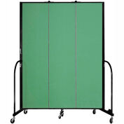 "Screenflex 3 Panel Portable Room Divider, 7'4""H x 5'9""L, Fabric Color: Sea Green"