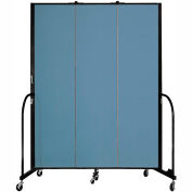 "Screenflex 3 Panel Portable Room Divider, 7'4""H x 5'9""L, Fabric Color: Blue"
