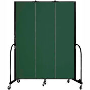 "Screenflex 3 Panel Portable Room Divider, 7'4""H x 5'9""L, Fabric Color: Green"