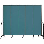 "Screenflex 5 Panel Portable Room Divider, 7'4""H x 9'5""L, Fabric Color: Lake"