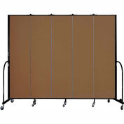 "Screenflex 5 Panel Portable Room Divider, 7'4""H x 9'5""L, Fabric Color: Walnut"